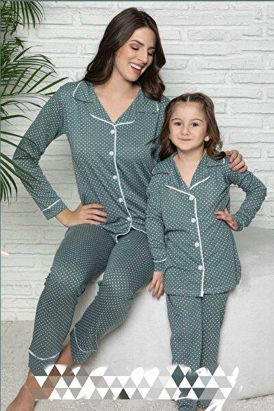 Polat Yıldız Yeşil Anne Kız Pijama Takımı Kombini 20106
