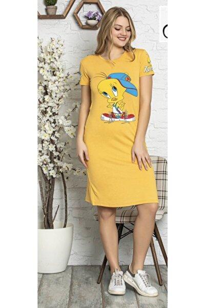 Kadın Sarı Yumuşak Tweety Baskılı Ev Elbisesi