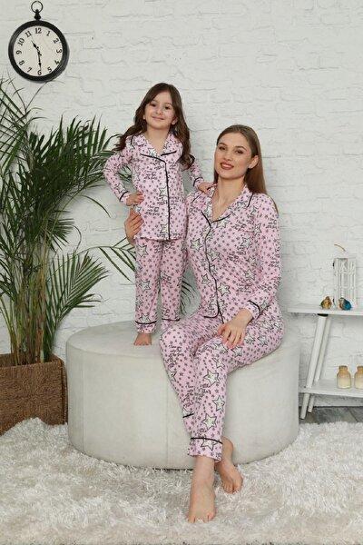 Kadın Pembe Yıldız Desenli Anne Kız Kombin Pijama Takımı 20114