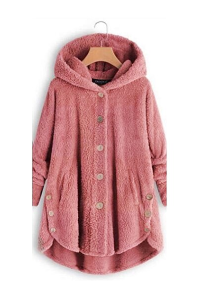 Yeni Model Kadın Polar Düğme Detay Kapşonlu Wellsoft Ceket (Pembe)