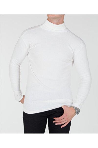 Trend Erkek Beyaz Boğazlı Triko Kazak