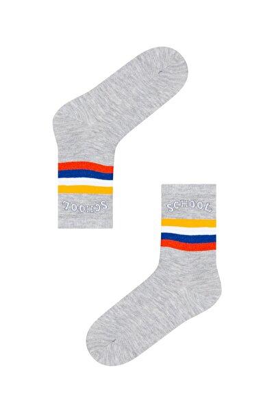 Açık Gri Melanj Erkek Çocuk School Soket Çorap