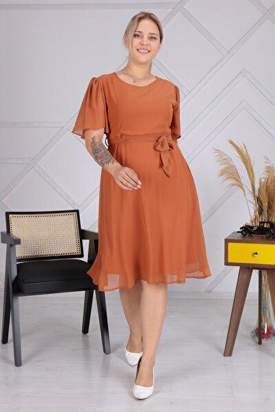 Kadın Siyah Büyük Beden Bağlama Detaylı Şifon Elbise 4257/110