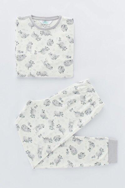 Beyaz Erkek Çocuk Printed Bear Termal 2li Pijama Takımı