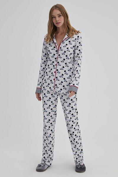 Kadın Lacivert Pamuk Köpek Baskılı Gömlek Pijama Takımı