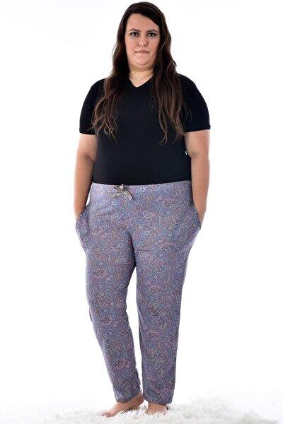 Kadın Füme 424-13 Büyük Beden Desenli Cepli Tek  Pijama Altı