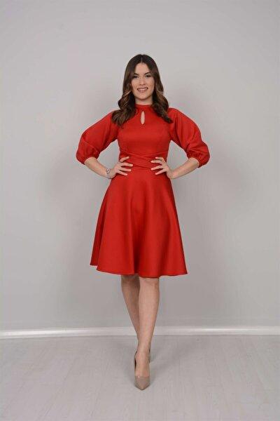 Scuba Kumaş Kemer Detaylı Elbise - Kırmızı