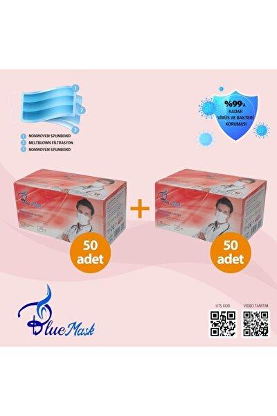 2 Kutu Kırmızı Bluemask Cerrahi Maske Meltblown Filtreli 100 Adet