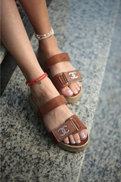 Kadın Kahverengi Taşlı Sandalet