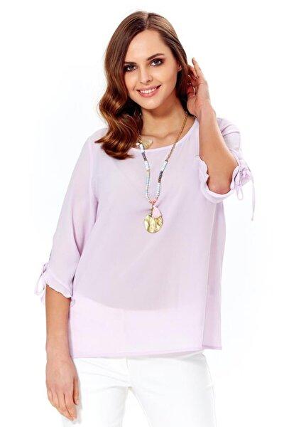 Kadın Lila Kol Uçları Bağcıklı Ve Fırfırlı Bluz 018-4006
