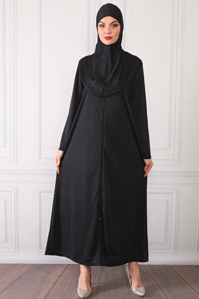 Fermuarlı Tek Parça Pratik Giyimli Namaz Elbisesi Siyah