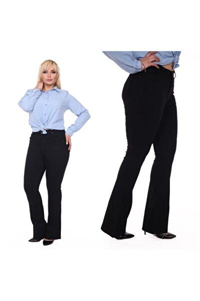 Büyük Beden Ispanyol Paça Yüksek Bel Full Likralı Siyah Pantolon