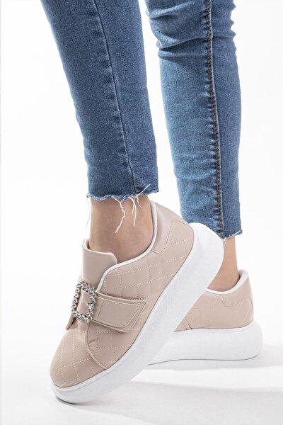 Kadın Sneaker Taşlı Tokalı Kapitone Yüksek Tabanlı Yürüyüş Ayakkabısı Siyah&bej