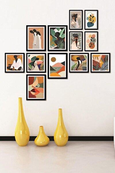 Çerçeve Görünümlü 12 Parça Mdf Tablo Pastel Doğa Ve Kadın