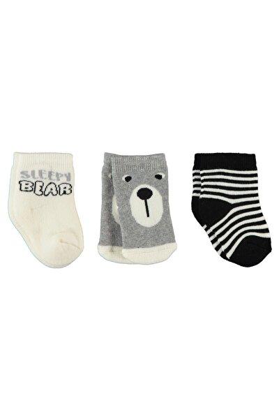 Erkek Bebek 3'lü Çorap 0-24 Ay Siyah-ekru