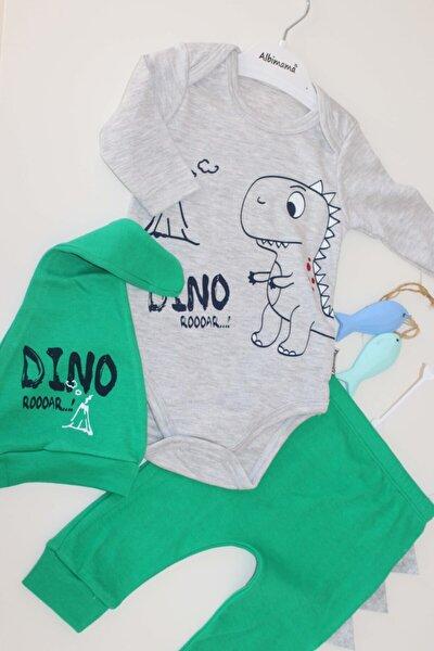 Şapkalı Bebek Zıbın Takımı - Dino Desenli