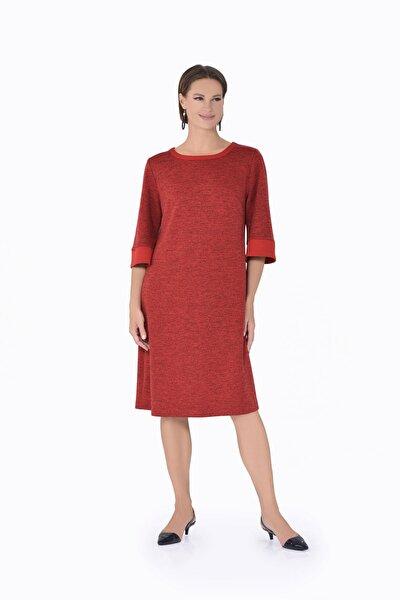 Kadın Elbise Cccalor Sonbahar Kış O Yaka Truvakar Kol-kırmızı