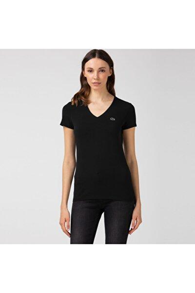 Kadın Slim Fit V Yaka Siyah T-Shirt