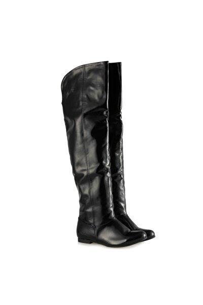 Büyük Numara Kadın Çizme Siyah Rugan Dizüstü 41-42-43-44