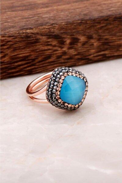Mavi Opal Taşlı Rose Gümüş Tasarım Yüzük 2695