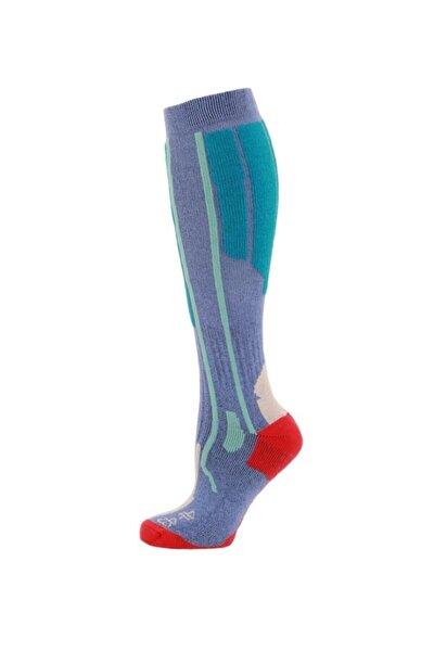 Ski Socks Erkek Kayak Çorap Mavi/yeşil