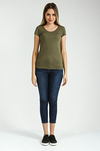 Kadın Haki Yuvarlak Kesim Kısa Kollu Basic Tshirt