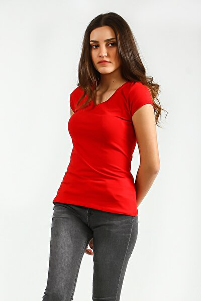 Kırmızı V Yakalı Kısa Kollu Basic Kadın Tshirt