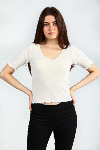 Ecru V Yakalı Bel Ve Kol Detaylı Kısa Kollu Basic Kadın Tshirt