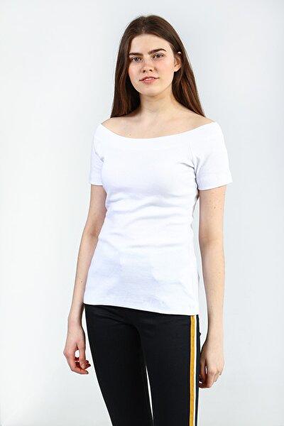 Beyaz Kadın Sıyah Spor Slim Kısa Kol T-shirt