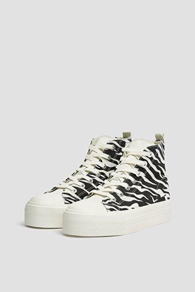 Kadın  Renkli Zebra Desenli Yüksek Bilekli Spor Ayakkabı 11201740