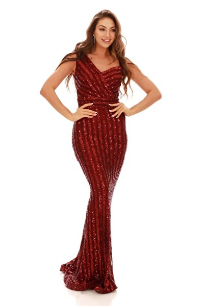 Bordo Çizgili Payetli Uzun Balık Abiye Elbise