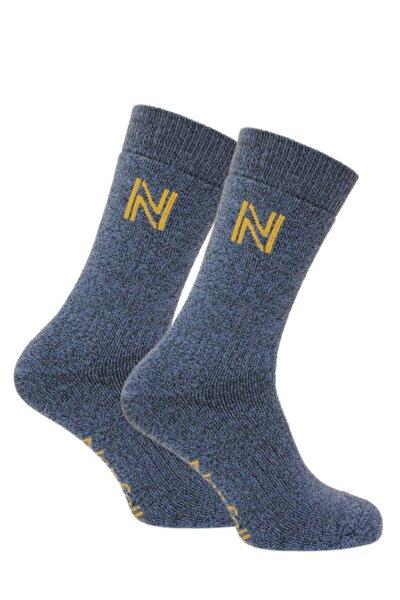 Unisex Mavi Merinos Yünü ve Bambu Tam Yastıklı Termal Dış Mekan Çorabı Gabby