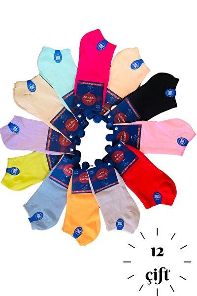 12 Çift Kadın Çok Renkli Kısa Çorap