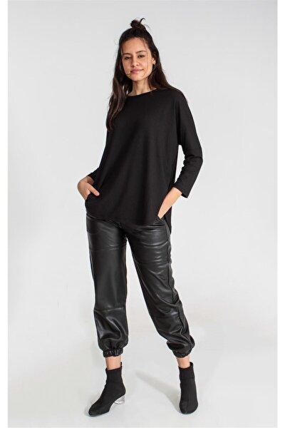 Siyah Kadın Örme Tshirt