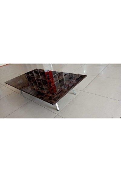 69x119 Ebatında Koyu Granit I Mdf Dikdörtgen Yer Sofrası  Katlanır Metal Ayaklı   Sunum Sehpası