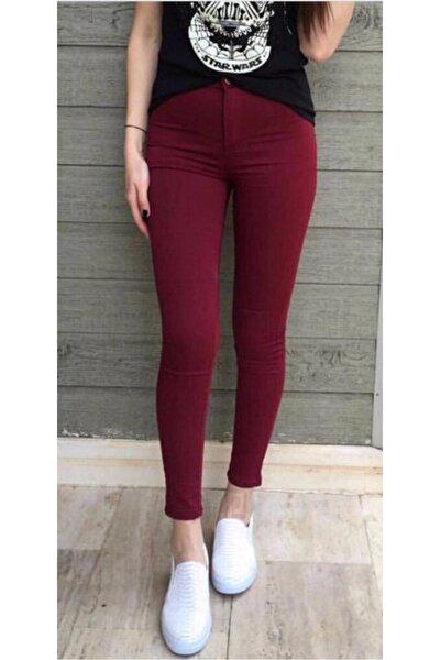 Kadın Bordo Gabardin Kumaş Yüksek Bel Pantolon