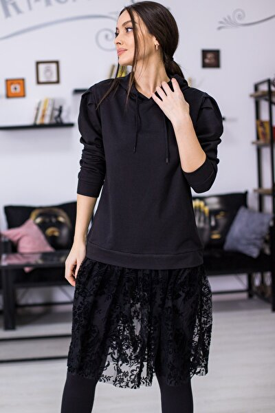 Kadın Siyah Kapüşonlu Eteği Güpürlü Sweatshirt ARM-21K024076