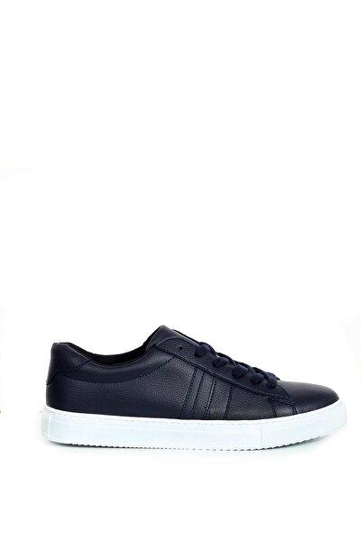 Lacivert Yan Parça Dikiş Detaylı Bağcıklı Erkek Sneaker