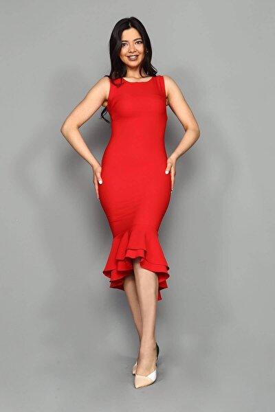 Kırmızı Midi Boy Eteği Volanlı Elbise
