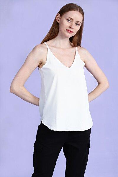 Ecru V Kesim Yakalı Askılı Basic Kadın Bluz