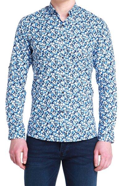G 1380 Slim Fit Mavi Spor Gömlek