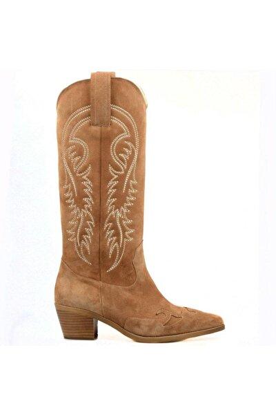 Kadın Kovboy Çizme Süet Taba (Parma)
