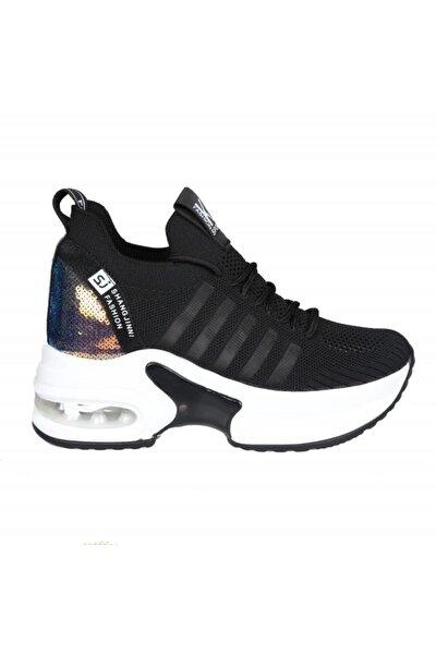 20y308-7 Dolgu Topuk Siyah Kadın Sneakers