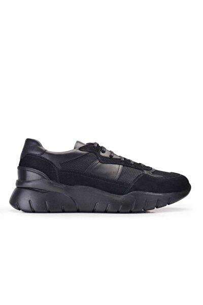 Hakiki Deri Siyah Sneaker Erkek Ayakkabı -10847-