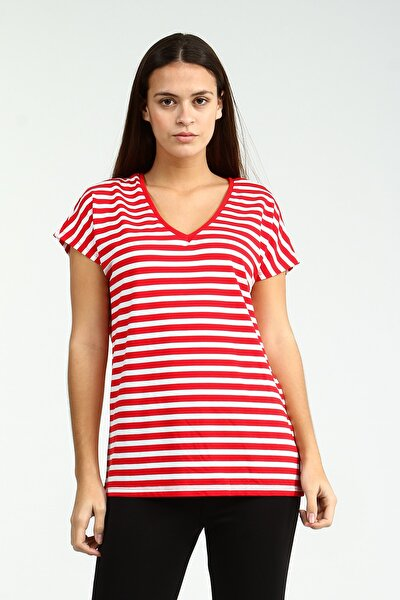 Kırmızı V Yakalı Çizgili Kısa Kollu Kadın Tshirt