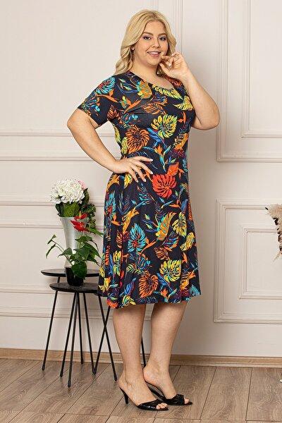 Kadın Büyük Beden Lacivert Çiçek Desenli Viskon Elbise