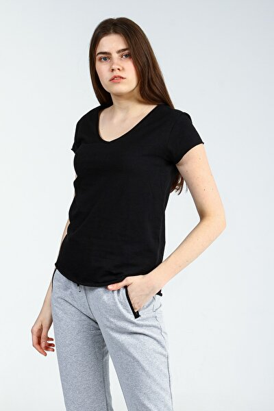 Siyah V Yakalı Kısa Kollu Kadın Basic Tshirt