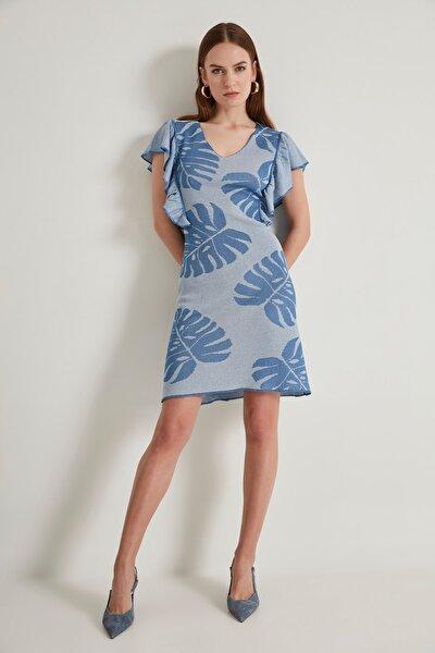 Yaprak Desenli Triko Elbise -mavi