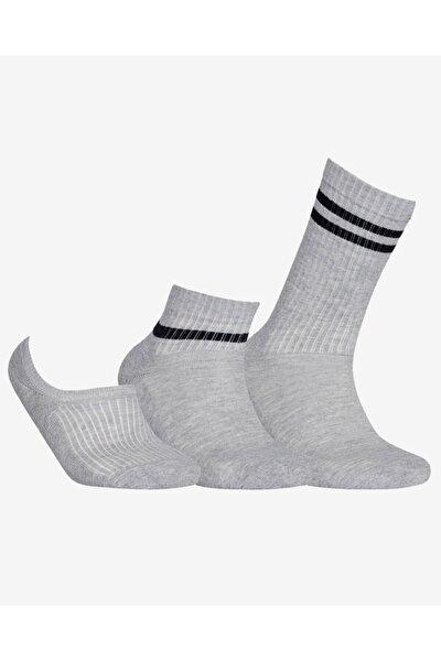 M SKX 2 Stripe Crew Mid Low Cut Socks 3 Pack Unisex Çok Renkli Çorap