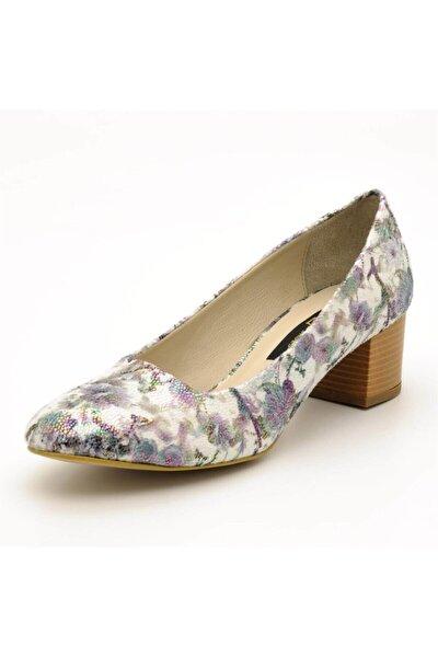 1453 Gri Çiçek Büyük Numara Bayan Ayakkabı